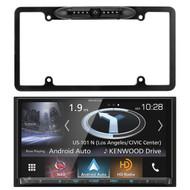 Kenwood In-Dash Navigation DVD Auto Slide Panel Receiver, Enrock Car License Plate Frame Rear View Backup Waterproof Camera
