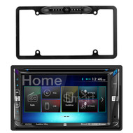 Dual DV695MB Double-DIN Multimedia DVD Receiver with Bluetooth and 2-Way DualMirror Technology, Enrock Car License Plate Frame Rear View Backup Night Vision Waterproof Camera with Parking Assist and Distance Scale Lines