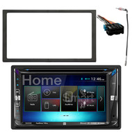 Dual DV695MB Double-DIN Multimedia DVD Receiver with Bluetooth and 2-Way DualMirror Technology, Enrock Double DIN Installation Dash Kit, Metra Radio Wiring Harness For 1988-2005 GM Vehicles, Enrock Antenna Adapter