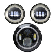 "2x Enrock HALO LED CREE IP67 Waterproof Diecast Aluminum  4.5"" Harley Davidson Fog Lamps (Black), Enrock HALO LED CREE IP67 Waterproof Diecast Aluminum  7"" Harley Davidson, Jeep High Low Beam Lamps (Black) High: 47Watt 3600 Lumen"