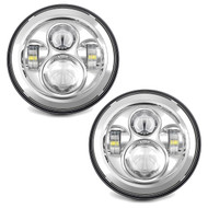 "2x Enrock LED CREE IP67 Waterproof Diecast Aluminum  7"" Harley Davidson, Jeep High Low Beam Lamps (Silver) High: 47Watt 3600 Lumen - Low: 27Watt 3100 Lumen 6500-700K"