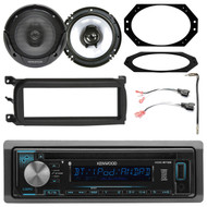 "Kenwood In Dash Car Audio CD Bluetooth SiriusXM Ready Receiver, 2x 6.5"" Speakers, 1-DIN Dash Kit, 2 Pin Rectangular Speaker Connector, Antenna Adapter, 4X6"" Speaker Plate (Select 2001-2006 Vehicles)"