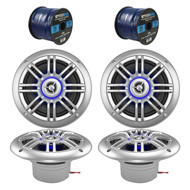 "4 x Milennia 6.5"" Marine Speakers, 2 x Enrock Audio Marine Grade Speaker Wire (R-2PAIR-652BSL-EM16G50FT-OFC)"