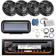 "Pontoon Boat Audio Package: JVC KD-R99MBS Marine Bluetooth CD Receiver, Radio Cover - Black , 4x JVC CS-DR6200M 6.5"" Marine 2-Way Black Speakers, 4-Ch Amplifier, Amp Kit, Antenna, Speaker Wire"