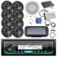 "Boat Audio Package: JVC KD-X35MBS Marine AM/FM Bluetooth SiriusXM Receiver, Radio Cover - Black, 8x JVC 6.5"" Marine 2-Way Black Speakers, 10"" Woofer / Amplifier Combo, Amp Kit, Antenna, Speaker Wire"