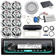 "Boat Audio Package: JVC KD-X35MBS Marine AM/FM Bluetooth SiriusXM Receiver, Radio Cover, 8x JVC 6.5"" Marine White Speakers, 10"" Woofer / Amplifier Combo, Amplifier, Amp Kit, Antenna, Speaker Wire"