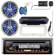 "Kenwood KMRD372BT Marine CD Bluetooth Receiver, Radio Cover, 2x Enrock Marine 2-Way 6.5"" Speakers (Charcoal), SiriusXM Tuner, Shakespeare SiriusXM Antenna, Marine Radio Antenna, Tinned Speaker Wire"