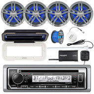 "Kenwood KMRD372BT Marine CD Bluetooth Receiver, Radio Cover, 4x Enrock Marine 2-Way 6.5"" Speakers (Charcoal), SiriusXM Tuner, Shakespeare SiriusXM Antenna, Marine Radio Antenna, Tinned Speaker Wire"
