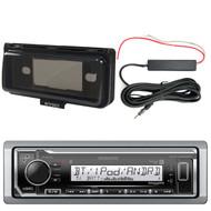 Kenwood KMR-M322BT Marine Bluetooth Receiver, Single DIN Radio Cover, Enrock 12V Amp Booster Kit