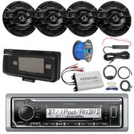 "Pontoon Boat Audio Package: Kenwood KMR-M322BT Marine Bluetooth Receiver, Radio Cover, 4x Kenwood KFC-1653MRB 6.5"" 2 Way Marine Speakers (Black), 4-Ch Amplifier, Amp Booster Kit, Amp Kit, Speaker Wire"
