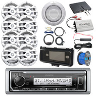 "Boat Audio Package: Kenwood KMR-M322BT Marine Bluetooth Receiver, 8x Kenwood 6.5"" 2 Way Marine Speaker, 10"" Inch Woofer / Amplifier Combo, Amplifier & Install Kit, Radio Cover, Amp Booster Kit, Wire"