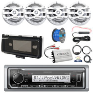 "Pontoon Boat Audio Package: Kenwood KMR-M322BT Marine Bluetooth Receiver, 4x Kenwood 6.5"" 2 Way Marine Speaker (White), 4-Ch Amplifier, Amp Install Kit, Radio Cover, Amp Booster Kit, Tinned Wire"