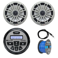 "MB Quart GMR-2.5 Waterproof AM/FM Bluetooth Gauge Source Unit Receiver, MB Quart NK1-120 280-Watt 8"" 2-Way Coaxial Marine Speakers (Pair) - Silver, Enrock Marine Antenna , 50Ft 16G Tinned Speaker Wire"