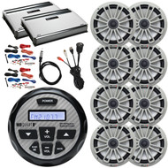 "Boat Audio Package: MB Quart GMR-2.5 Waterproof AM/FM Bluetooth Gauge Source Unit Receiver, 4x 8"" 2-Way Marine Speakers (Pair) - Silver, 2x 4-Ch Amplifier, 2x 8G Amp Kit, USB/AUX Mount, Antenna"