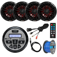 "Bay Boat Audio Package: MB Quart GMR-2.5 Waterproof AM/FM Bluetooth Gauge Source Unit Receiver, 2x 280-Watt 8"" 2-Way LED Marine Speakers (Pair), LED Remote, Antenna, USB/AUX Mount, Tinned Wire"