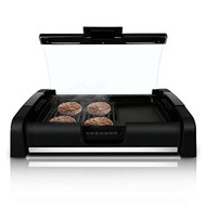 NutriChef Electric Griddle - Dual Hot Plate Cooktop Crepe Maker with Grill & Glass Lid - Nonstick Coating, Adjustable Temperature Control & Grease Tray for Kitchen & Countertop (PKGRIL45)