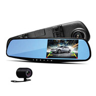 "Pyle Upgraded 4.3"" DVR Rearview Mirror Dash Cam Kit - Vehicle Dual Camera Video Recording System in Full HD 1080p and 32GB Memory w/ Motion Detect Parking Control Loop Record Support PLCMDVR49"