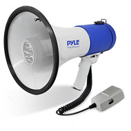 Pyle Portable Compact PA Megaphone Speaker with LED Lights, Alarm Siren & Adjustable Volume - 50W Handheld Lightweight Bullhorn with Detachable Mic - Battery Powered For Indoor Outdoor Use - PMP51LT