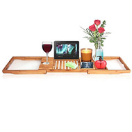 SereneLife Luxury Bamboo Bathtub Caddy Tray - Adjustable Natural Wood Bath Tub Organizer with Wine Holder, Cup Placement, Soap Dish, Book Space & Phone Slot for Spa, Bathroom & Shower (SLBCAD20)
