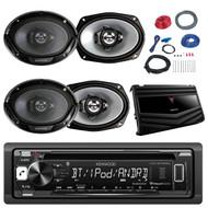 Kenwood KDC-BT265U In Dash CD DIN Bluetooth Stereo Receiver, Kenwood KFC6966S 6 x 9 Inches 3-Way 400-Watt Car Coaxial Speakers, Kenwood KAC-6406 500 Watt 4/3-Channel Class AB Car Audio Power Amplifier, Boss Complete 8 Gauge Amplifier Installation Kit