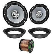 "2x Kenwood KFC-C1655S 6.5"" Dual Cone Speakers, Adapter, Wire ('98-2013 Harley)"