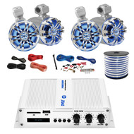 """Pyle Marine PFMRA450BW 4-Channel Bluetooth White Amplifier, 4x Pyle 6.5"""" Wakeboard Waterproof IP44 Rated Tower Silver LED Speakers, Amp Install Kit, 18-G 50 Ft Speaker Wire"""