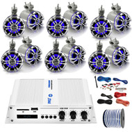 """Pyle Marine PFMRA650BW 6-Channel Bluetooth White Amplifier, 6x Pyle 5.25"""" Wakeboard Waterproof IP44 Rated Tower Silver LED Speakers, Amp Install Kit, 18-G 50 Ft Speaker Wire"""