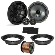 "2x Kicker CSS 6.5"" Black Component Speaker System, Speaker Adapter, 14-Gauge 50 Ft Speaker Wire (Select '98-2013 Harley Davidson)"