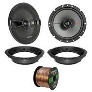 "2x Kicker KSC670 6.75"" 2-Way Speakers, Speaker Adapter, 14-Gauge 50 Ft Speaker Wire (Select '98-2013 Harley Davidson)"