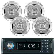 "Lanzar AQMP70BTB Single DIN In Dash Bluetooth AUX USB MMC SD MP3 Boat Receiver, 4x Lanzar AQ5CXS 5.25"" Marine Water Resistant 2 Way 400 Watt Silver Speakers"