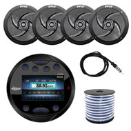 "Lanzar AQR80B Round Aquatic Waterproof Marine Stereo In Dash Bluetooth Receiver - Black, 4x Pyle PLMRS6B 6.5"" Marine 2 Way 240 Watts Black Speakers, Enrock 18g Speaker Wire, 40"" Antenna"