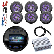 "Lanzar AQR80B Round Aquatic Waterproof Marine Stereo In Dash Bluetooth Receiver - Black, 6x Pyle PLMRS63BL 6.5"" 2 Way 240W LED Black Speakers, 4-Channel Amplifier, 8 Gauge Amp Install Kit, 40""Antenna"