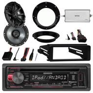 "USB CD Kenwood Radio,98-2013 Harley Install Kit,6.75""Kicker Speakers,Brackets,Amp"