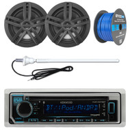 "Marine Bluetooth CD Radio, 4x 6.5"" Waterproof Speakers, 50 Ft Wire, Antenna"