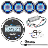 ClarionMarine 21' - 29' Pontoon Boat Audio Package: Audio Gauge Style Bluetooth Media Receiver, 4 x 6.5 200 Watt Blue-LED Marine Speakers, 4 Channel 400 Watt Compact Amplifier, Amp Kit, Antenna