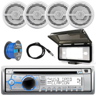 ClarionMarine 16-25' Bay Boat Audio Package: Audio Single Din CD/USB/MP3/WMA Bluetooth Receiver, 4 x 6.5 Coaxial 2-Way 100 Watts Speakers, Tinned Speaker Wire, Radio Protective Cover, AM/FM Antenna