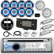 36' - 42' Boat Audio Package: Clarion Single DIN Bluetooth Receiver, Remote, 8 x 6.5 LED Speakers, 4-Ch Amplifier, 2 x 10 Subwoofer, 1-Ch Amplifier, Splitter, Amp Kit, Radio Cover, Antenna, Extension