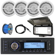 ClarionMarine 16-25' Bay Boat Audio Package: Single-DIN SiriusXM Ready Bluetooth USB AUX Digital Media Receiver, 4 x 6.5 Coaxial 2-Way 100 Watts Speakers, Speaker Wire, Radio Cover, Antenna