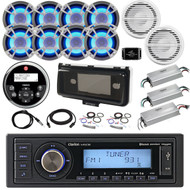 36' - 42' Boat Audio Package: Clarion Single-DIN Bluetooth Receiver, Remote, 8 x 6.5 LED Speakers, 4 Ch Amplifier, 2 x 10 Subwoofer, 1 Ch Amplifier, Splitter, Amp Kit, Radio Cover, Antenna, Extension