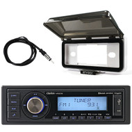 ClarionMarine Single-DIN SiriusXM Ready Bluetooth USB AUX Digital Media Receiver, Radio Protective Cover, AM/FM Antenna