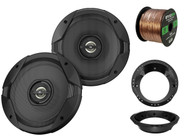 "2x JBL 6.5"" GT7 Series Coaxial Car Speakers, 2x Harley Adapters, 50 Ft Wire"