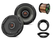 "2x JBL 6.5"" GX Series Speakers -Bulk Packaging, 2x Harley Adapters, 50 Ft Wire"