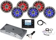 "AM/FM Bluetooth Radio, 6x 8"" Titanium LED Speakers, Amp + Kit, USB, Antenna"