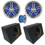 """2x Enrock Marine 2-Way 180-Watts High-Performance 6.5"""" Water-Resistant Speakers (Chrome), 2x Marine Coated Spray-liner Wedge Enclosure, Enrock 16 Gauge Tinned Speaker Wire"""