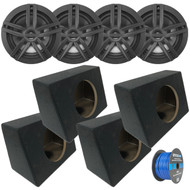 "4x Enrock Marine 2-Way 180-Watts High-Performance 6.5"" Water-Resistant Speakers (Black), 4x Marine Coated Spray-liner Wedge Enclosure, Enrock 16 Gauge Tinned Speaker Wire"