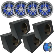 """4x Enrock Marine 2-Way 180-Watts High-Performance 6.5"""" Water-Resistant Speakers (Chrome), 4x Marine Coated Spray-liner Wedge Enclosure, Enrock 16 Gauge Tinned Speaker Wire"""