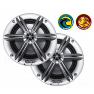 "Stinger PowerSports 6.5"" Marine Coaxial Speakers Silver (Pair) Without RGB Lighting"