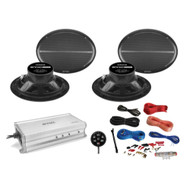 "4 x Enrock 6x9"" Marine Speakers, 4 Channel Amp, Controller, Amp Installation Kit"