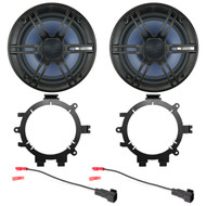 "2x Enrock 6.5"" 2- Way Marine Coaxial Car/Boat Audio Stereo Speakers, with 2x Enrock Speaker Mounting Brackets, 2x Speaker Wire Harness"