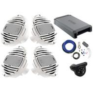 "4 x Hertz HMX6.5 6.5"" 2-Way Marine Speakers 150W Max (White), Hertz HCP4M Marine 4-Channel Amplifier, Kicker Weather-Proof Bluetooth Interface Controller, Kicker 8 Gauge Amplifier Installation Kit"